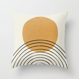 Gold Sun rainbow mid-century full Throw Pillow