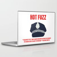 movie poster Laptop & iPad Skins featuring Hot Fuzz Movie Poster by FunnyFaceArt