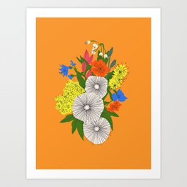 Cosmo Burst Orange Art Print