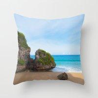 puerto rico Throw Pillows featuring Quebradillas, Puerto Rico by Silmagerie