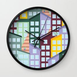 A lot of colourful Irish houses on the hill Wall Clock