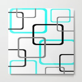 Geometric Rounded Rectangles Collage Teal Metal Print