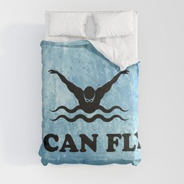 Yes, I Can Fly. Swimming Butterfly Swimmer Cool Sports design Comforters