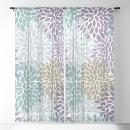 Floral Blooms, Purple, Teal, Gold Sheer Curtain