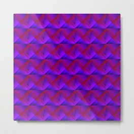 Stripes of violet triangles with the shadow of squares and the intersection of rhombuses. Metal Print