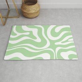Modern Retro Liquid Swirl Abstract Pattern in Light Matcha Tea Green and White Rug