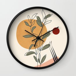 Minimal Line Young Leaves Wall Clock