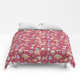 Gingerbread on a crimson background Comforters