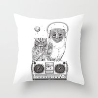 silent Throw Pillows featuring Silent Night ANALOG zine by jewelwing