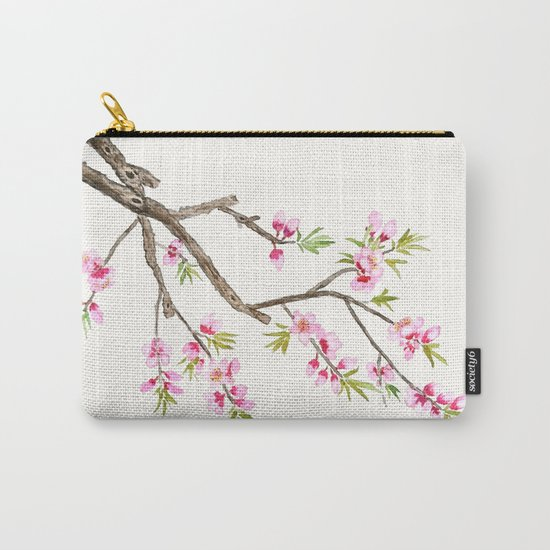 pink peach flowers Carry-All Pouch
