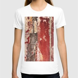 an old cracked wall with cracks and  fittings T-shirt