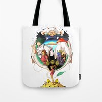 spirited away Tote Bags featuring Spirited away by Willow