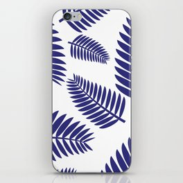 Blue Leaves Ferns Pattern iPhone Skin