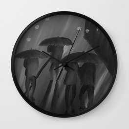 Feeling Blue by Lu, black-and-white Wall Clock