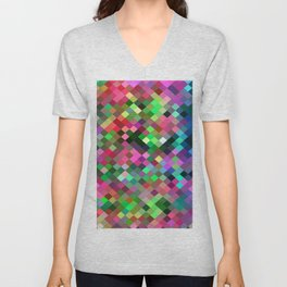 geometric square pixel pattern abstract in pink blue green Unisex V-Neck