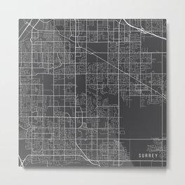 Surrey Map, Canada - Gray Metal Print