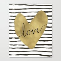 gold foil Canvas Prints featuring Love gold foil heart by Retro Love Photography