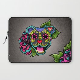 Smiling Pit Bull in Blue - Day of the Dead Pitbull Sugar Skull Laptop Sleeve