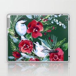 Winter Birds Dark Green Laptop & iPad Skin