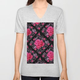 FUCHSIA PINK ROSE BLACK BROCADE GARDEN ART Unisex V-Neck