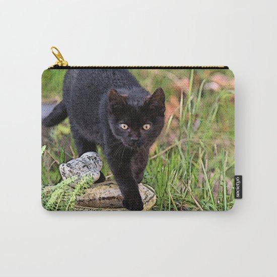 Lovely black cat walking her garden Carry-All Pouch