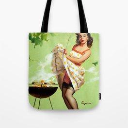 Smoke Screen Vintage Pin-up Girl Tote Bag