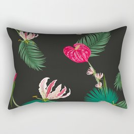 Hand Drawn Anthurium and Tropical Pink Flowers With Palm Leaves Pattern Rectangular Pillow
