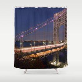 Famous George Washington Bridge Hudson River New York City USA Nightlife Ultra HD Shower Curtain