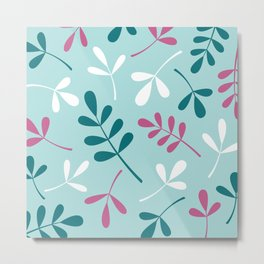 Assorted Leaf Silhouettes Teals Pink White Metal Print