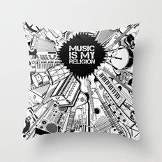 Music is my religion. Throw Pillow
