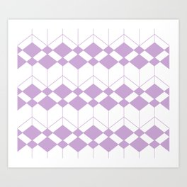 Abstract geometric pattern - purple and white. Art Print