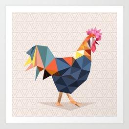 Polygonal Rooster Art Print