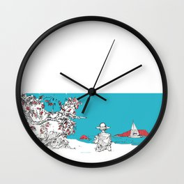New Year Eve at the beach, New Zealand Wall Clock