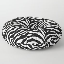 Wild Animal Print, Zebra in Black and White Floor Pillow