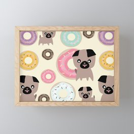 Pug and donuts beige Framed Mini Art Print