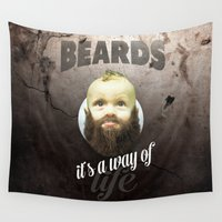 toddler Wall Tapestries featuring Beard boy by HappyMelvin
