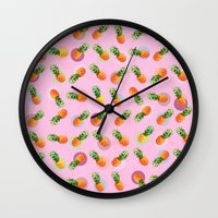 pineapple Wall Clocks featuring pineapple by mark ashkenazi
