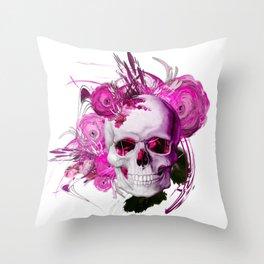 Pink fantasy flower skull white by mjvision Mia Niemi Throw Pillow