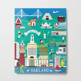 Oakland, California - Collage Illustration by Loose Petals Metal Print