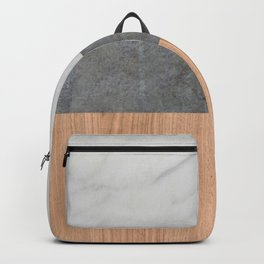 Carrara Marble, Concrete, and Teak Wood Abstract Backpack