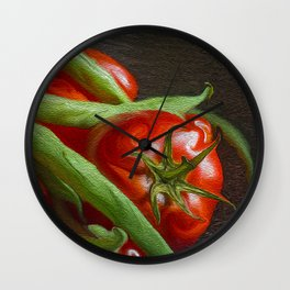 Snap Peas and Tomatoes in Colander Wall Clock