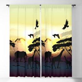 Savanna landscape with animals. African illustration Blackout Curtain