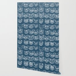Blue and White Silly Kitty Faces Wallpaper