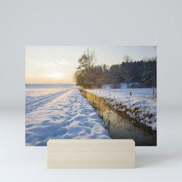 winter sunset Mini Art Print
