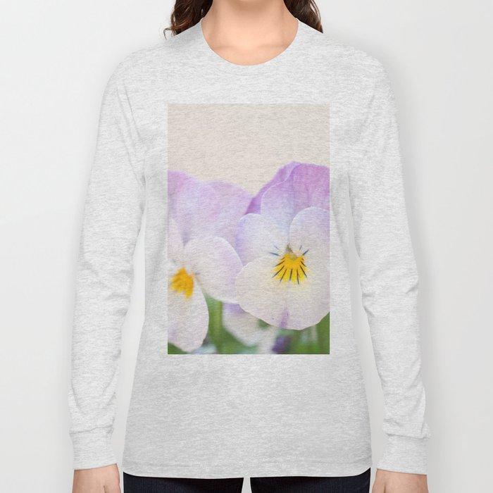 Spring Love #1 - Soft violet-white Pansies #decor #art #society6 Long Sleeve T-shirt