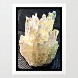 Angel Aura Crystals Clear Quartz Cluster Unicorn Fantasy Castle Art Print