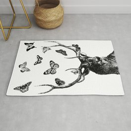 The Stag and Butterflies | Deer and Butterflies | Vintage Stag | Vintage Deer | Black and White | Rug
