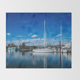 Columbia River Boat Reflection Throw Blanket