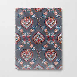 Floral Ogees in Red & Blue on Grey Metal Print