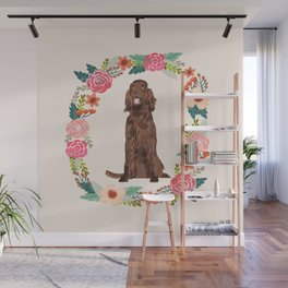 irish setter floral wreath spring dog breed pet portrait gifts Wall Mural
